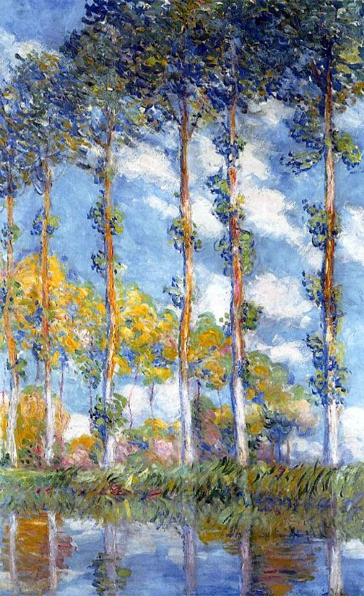 """Claude Monet, Poplars, 1891. Video: http://smarthistory.khanacademy.org/monet-poplars.html . Also,  """"Monet in Zola & Proust: How did Zola and Proust depict Monet?"""" by Jeffrey Meyers. (Subscribe: http://www.newcriterion.com/articles.cfm/Monet-in-Zola---Proust-1411)"""