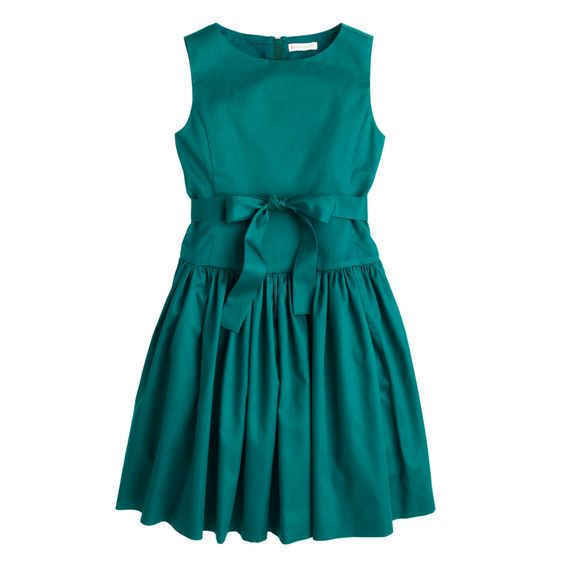 J.Crew girls' sateen bow dress in spicy jade.