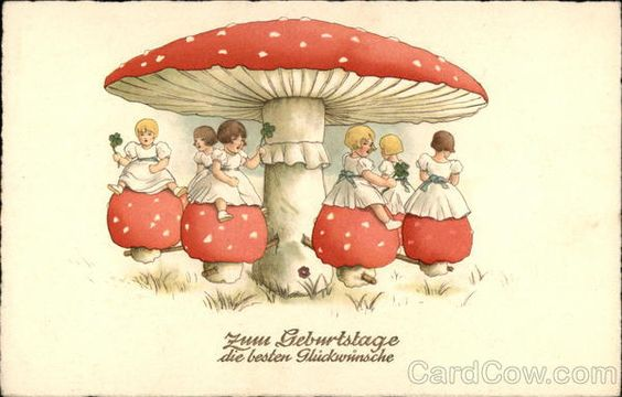 Best Wishes for your Birthday - Little Girls, Mushrooms, & Clover: