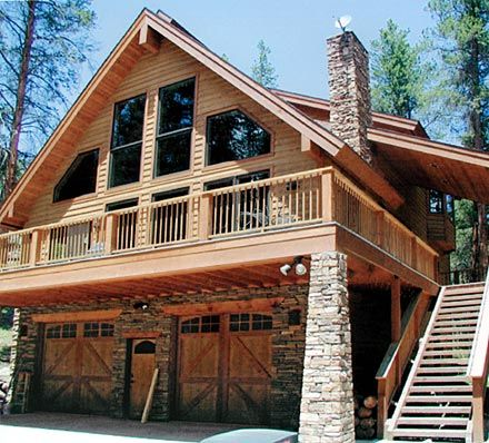 Garage stairs chalets and logs on pinterest Cabin plans with garage