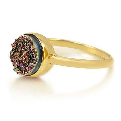 Round Multi-Color Natural Druzy Quartz Ring