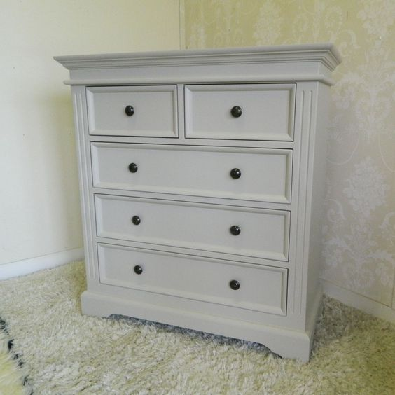Large Grey Shabby Chic Chest of Drawers French Bedroom Furniture Vintage Cottage