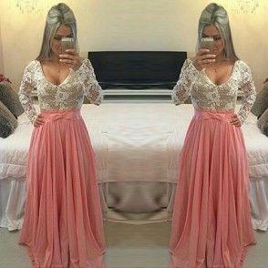 Sexy Langarm bodenlang Spitze Chiffon gepleißt Maxikleid Abendkleid