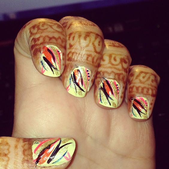 nail art, yellow nail polish henna tattoo, henna design, bridal henna, mehandi, mehndi, design, body art  #makeupbysehar