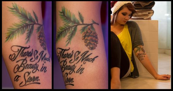 These are my 2nd and 3rd tattoos, both done by the wonderful Tim Kamerdze at Wizards World of Tattoos 1 in Stowe, PA.   I got the pine branch to represent the cabin in the woods that has been in my family for generations. It's a place that is extremely important to me and my family and is something that I will always hold very dear to my heart. All of my most treasured memories as a child growing up are from that house. My family is the most important thing to me in my life and our mountai: Tree Tattoos, Pine Tree Tattoo, Tattoos Girlytattoos, 3Rd Tattoos, Tattoo Art, Pretty Tattoos