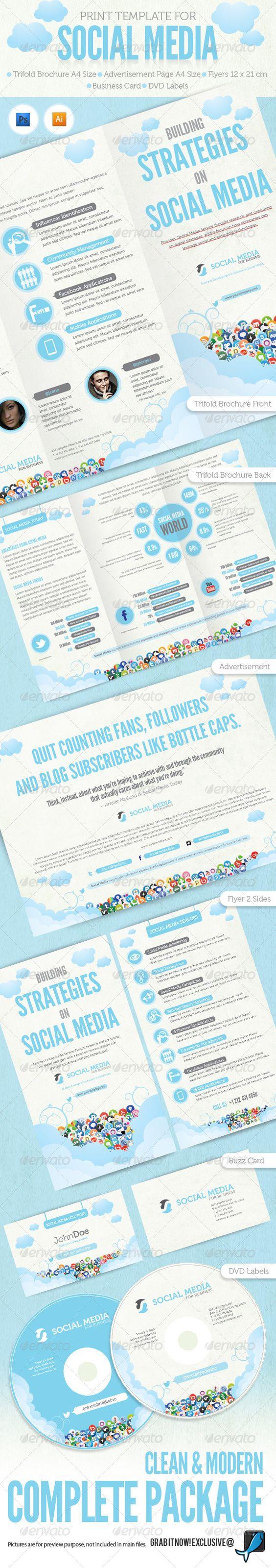 social media brochure template - fonts adobe and facebook on pinterest