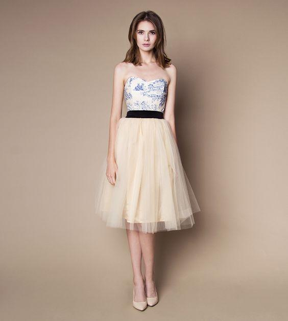 Standesamt Kleid creme blau mit Tüllrock. Maßanfertigung auch in anderen Farben möglich