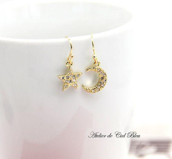 Gold Plated Moon Star Earrings by AtelierdeCielBleu