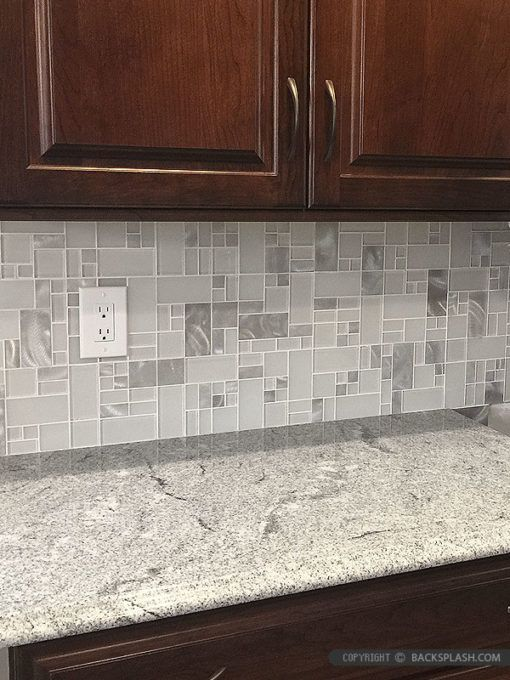 White Glass Metal Modern Backsplash Tile For Contemporary To