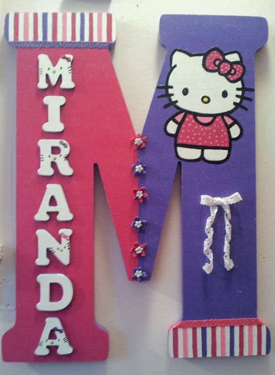 hello kitty hugh 18 inch wooden letter by lettersbytina on etsy 4000