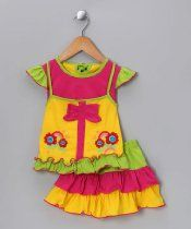 LeLe Baby Girl's Rainbow Top & Skirt Clothing Set