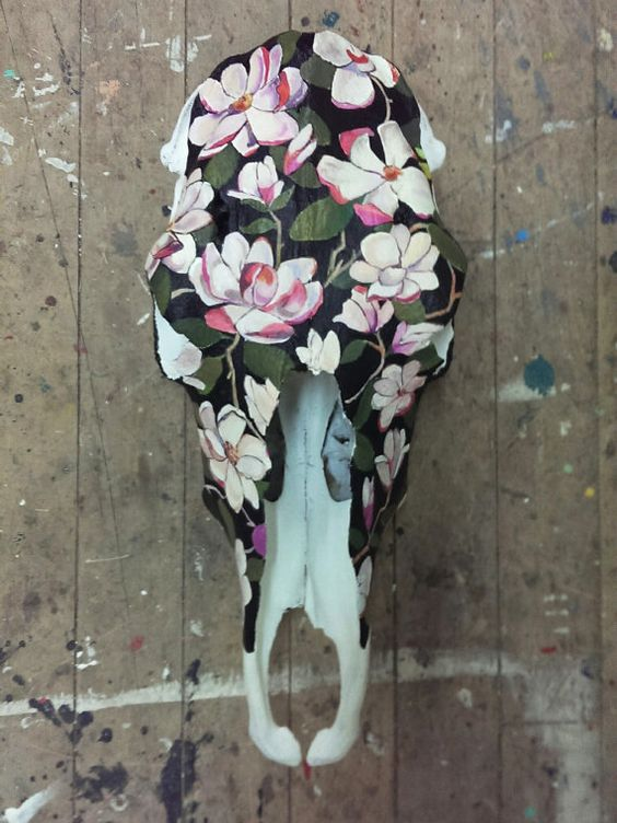 Magnolia Flower Pink Painted Skull Skull Acrylic by WestHound
