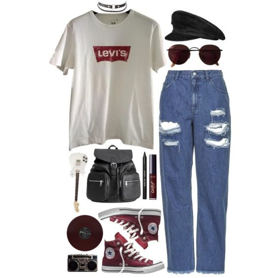 Closer by brigi-bodoki on Polyvore featuring moda, Levi's, Topshop, Converse, H&M, Charlotte Russe, Hermès, Ray-Ban, tarte and Bobbi Brown Cosmetics