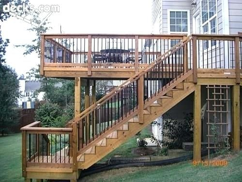 Outdoor Stair Landing Ideas Second Story Deck With A Small Landing At The Bottom Of The Staircase Allowing For Dec Building A Deck Deck Steps Second Story Deck