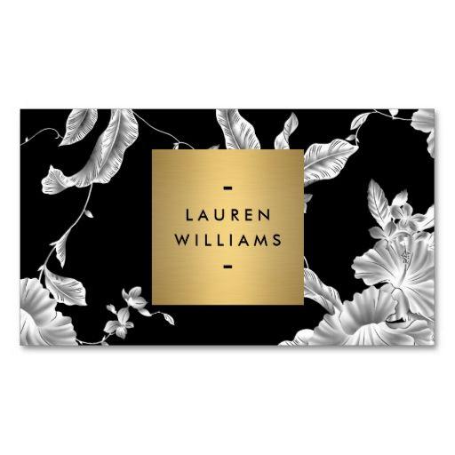 Elegant Black Floral Pattern 3 with Gold Name Logo ...