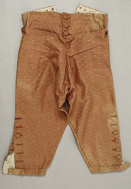 Trousers (Breeches)  Date: late 18th century Culture: Italian Medium: silk Dimensions: Length: 28 in. (71.1 cm) Credit Line: Rogers Fund, 1926 Accession Number: 26.56.40