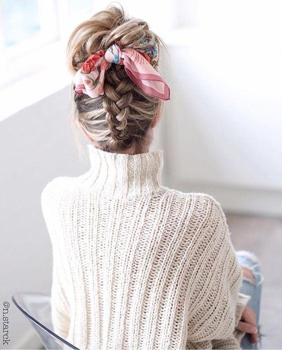 Upside down Dutch braid and scarf