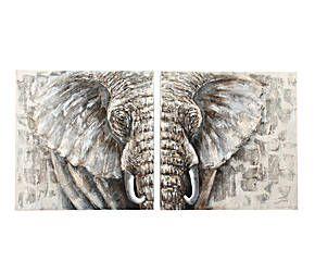 Set de 2 cuadros pintados a mano Elefante