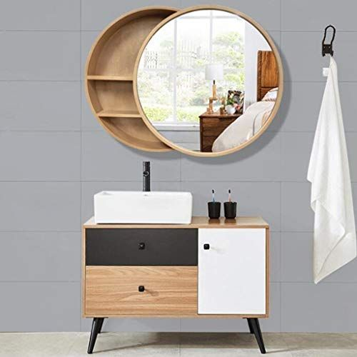 Ygo Led Mirror Cabinet With Touch Switch Round Wooden Wall Mirror Modern Decorative 3 Layer Shelves Van In 2020 Mirror Cabinets Bathroom Mirror Bathroom Mirror Cabinet