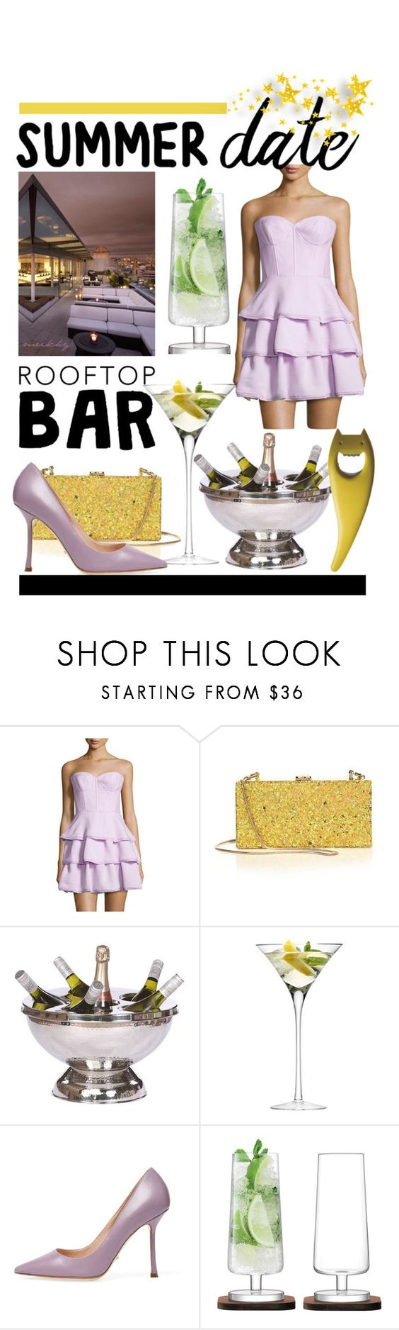 """""""contest Summer Date Rooftop bar"""" by meikhy ❤ liked on Polyvore featuring BCBGMAXAZRIA, Milly, LSA International, Sergio Rossi, Alessi, summerdate and rooftopbar"""