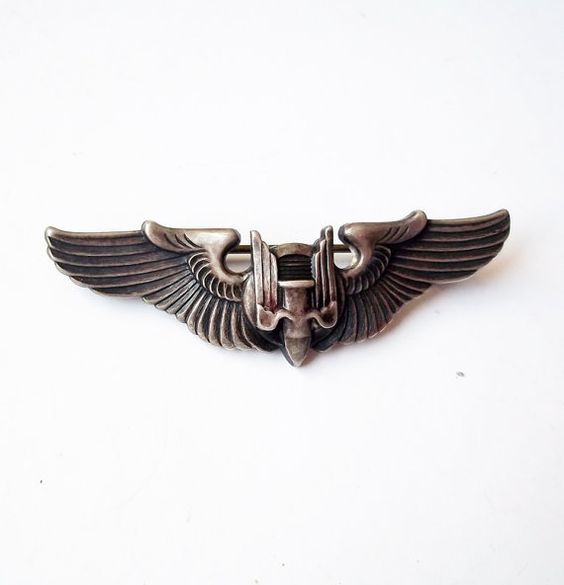 World War II U.S. Army Air Force Aerial Gunner Sterling Silver Badge - WWII Silver Wings / Flying Bullet Pin Back Badge - Winged Bullet: