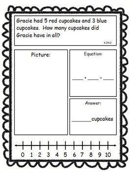 Addition and Subtraction Story Problems, Kindergarten Version, Set ...
