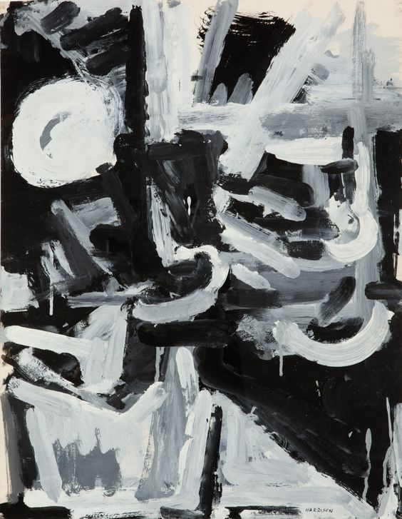 Myrna Harrison - Abstract Still Life in Black and White - circa 1956 ink and gouache on paper 22.5 x 17.5in