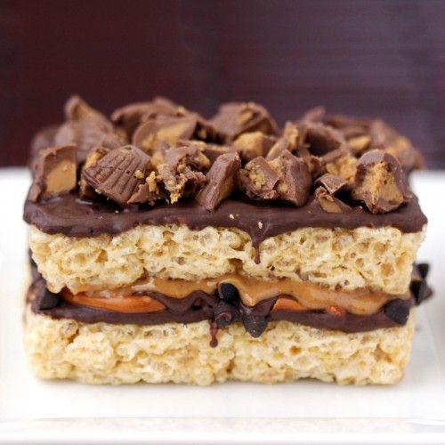 // Chocolate Peanut Butter Pretzel-Stuffed Rice Crispy Treat.