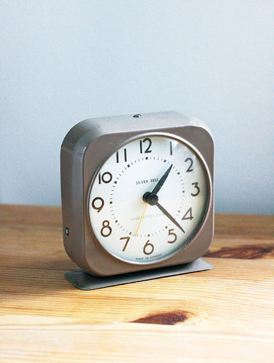 little vintage clock. Square Silver Bell Metal Alarm Clock by Westclox in Light Brown