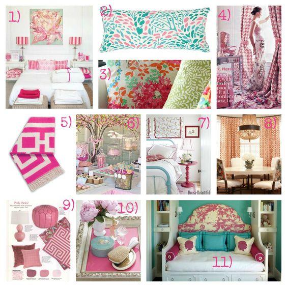 Aqua and Pink Bedroom Decor Mood Board