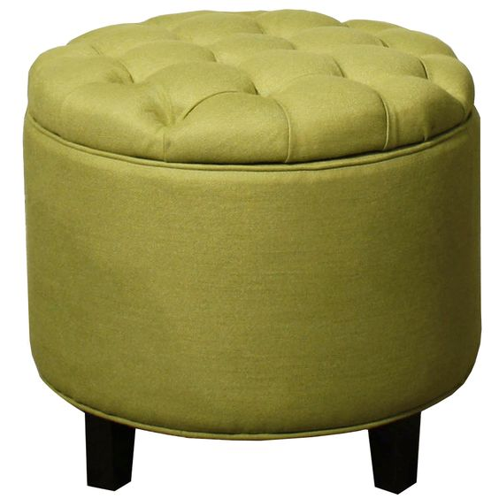 New Pacific Direct Avery Round Tufted Storage Ottoman