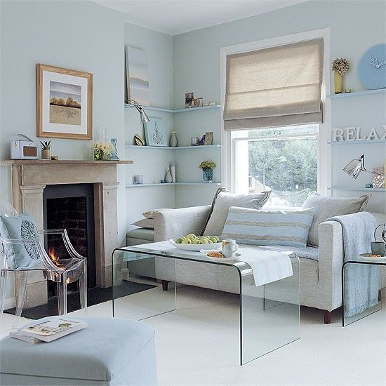 Pale Grey Living Room With Yellow Fireplace: Living Room With Pale Blue And Grey Scheme
