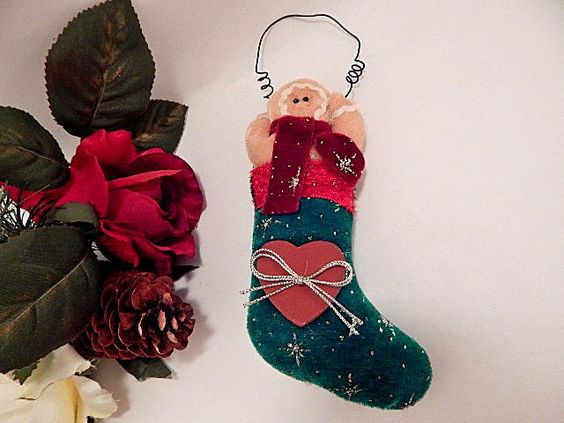 Gingerbread Man Christmas Stocking Ornament Stuffed Plush Holiday Decoration