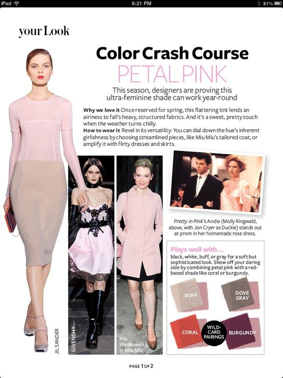 Which colors pair well with blush pink, from InStyle Magazine