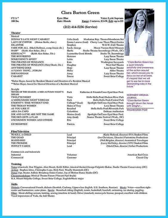Acting resume sample presents your skills and strengths in details - examples of acting resumes