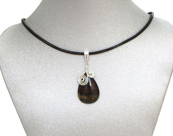 Natural Gemstone Iron Tiger's Eye Teardrop Pendant Necklace Healing Fengshui USA #Handmade #Pendant #Healing #Protection #GoodLuck #Semiprecious #Stone
