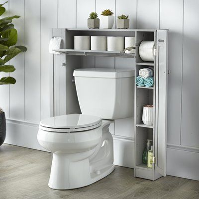"""The Twillery Co. Eleanor Free Standing 34"""" W x 38.5"""" H Over the Toilet Storage Finish: Gray"""