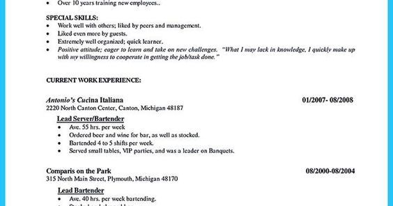 Impress the Recruiters with These Bartender Resume Skills Vina - server bartender sample resume