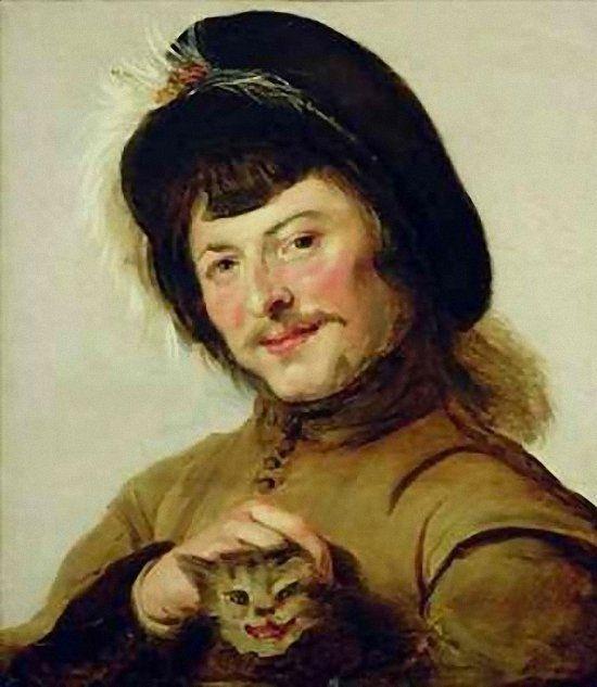 Frans Hals - A Young Man with a Cat. 1635 г.