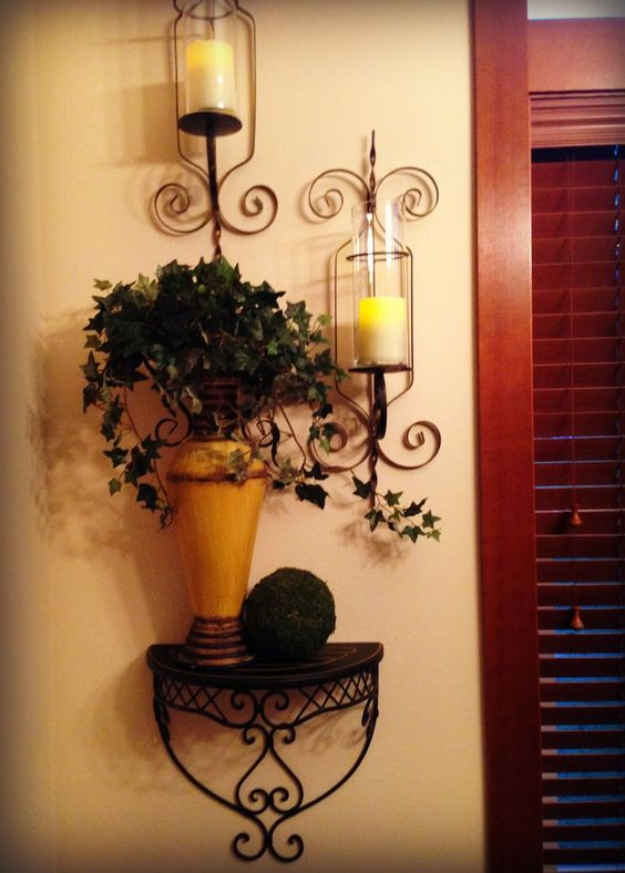 The Tuscan Home: Tuscan Dining Room-have a little shelf I could do this with...