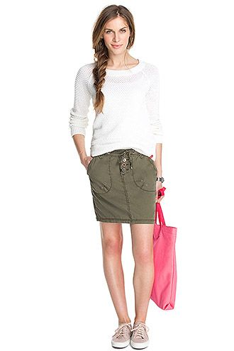 Esprit textured cotton skirt EDC at our Online Shop
