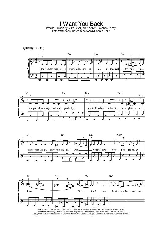 I Want You Back Sheet Music Preview Page 1
