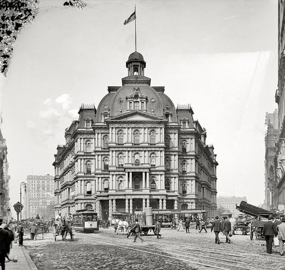 c1905 . City Hall Post Office at Broadway & Park Row. Designed by Alfred Mullett, completed in 1880 and demolished in 1938, the building was derided as Mullett's Monstrosity.