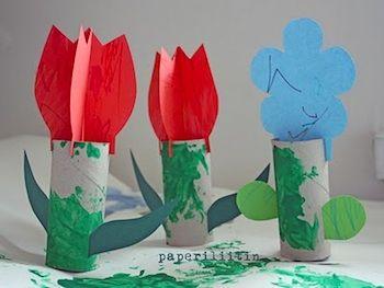 cardboard tube spring flowers; found at Paperiliitin