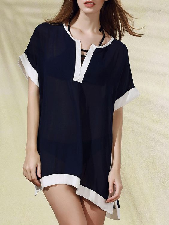 Color Block Plunging Neck Cover Up Dress