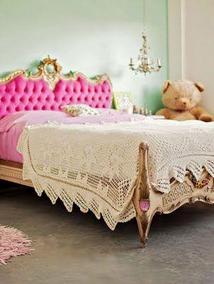 fun color combo #fuchsia #mint #bedroom