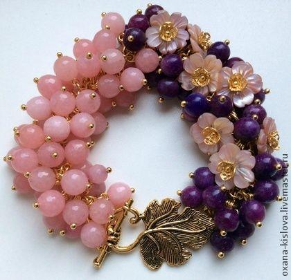 """Браслет """"Цветы-2"""" лепидолит, розовый кварц и перламутр - тёмно-синий,браслет"""