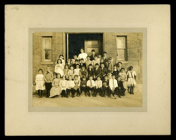 """Early """"Integrated"""" School Class Photo Lone African American Girl Off to Side"""
