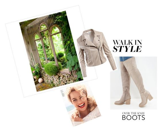 """OVER THE KNEE BOOT"" by ashleyyjames ❤ liked on Polyvore featuring New Look, Sans Souci and Gap"