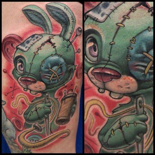 A bit bloody, but did this #bunny start to finish today on the always awesome @toric_90! #bunnytattoo #newschooltattoo #worldofnewschool #newschool  #animaltattoo #texastattoo #dandylandtx #tattoo #satx #sanantoniotattoos #cartoontattoo